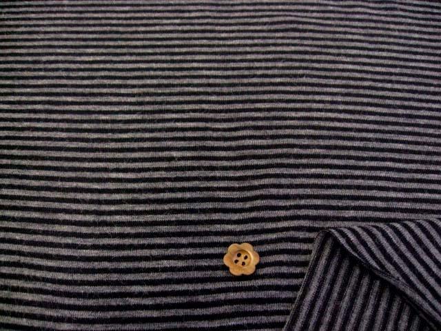 発熱保温効果機能繊維使用ウール混ストレッチ天竺ボーダー