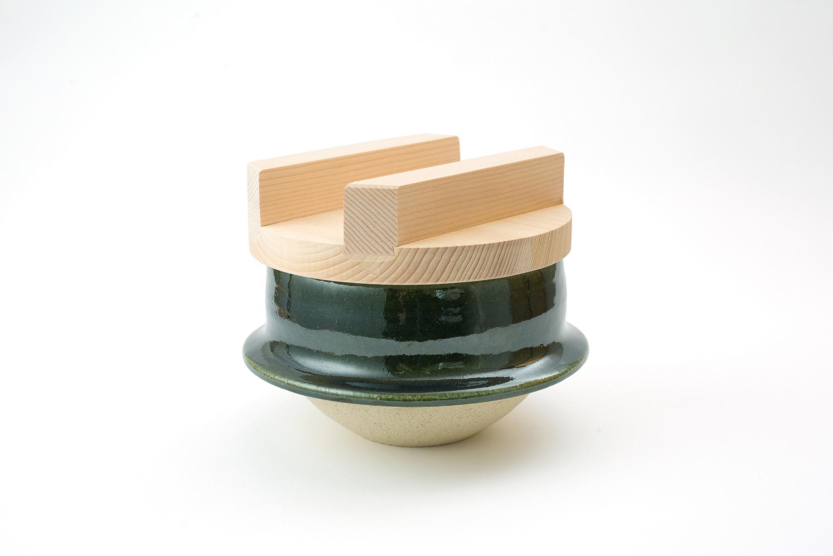 土楽・織部羽釜6寸(3合炊き)