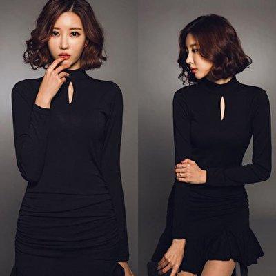 春コーデに最高な長袖ワンピース❤胸元の穴あきデザインにマーメイドラインが大人女子を演出❤