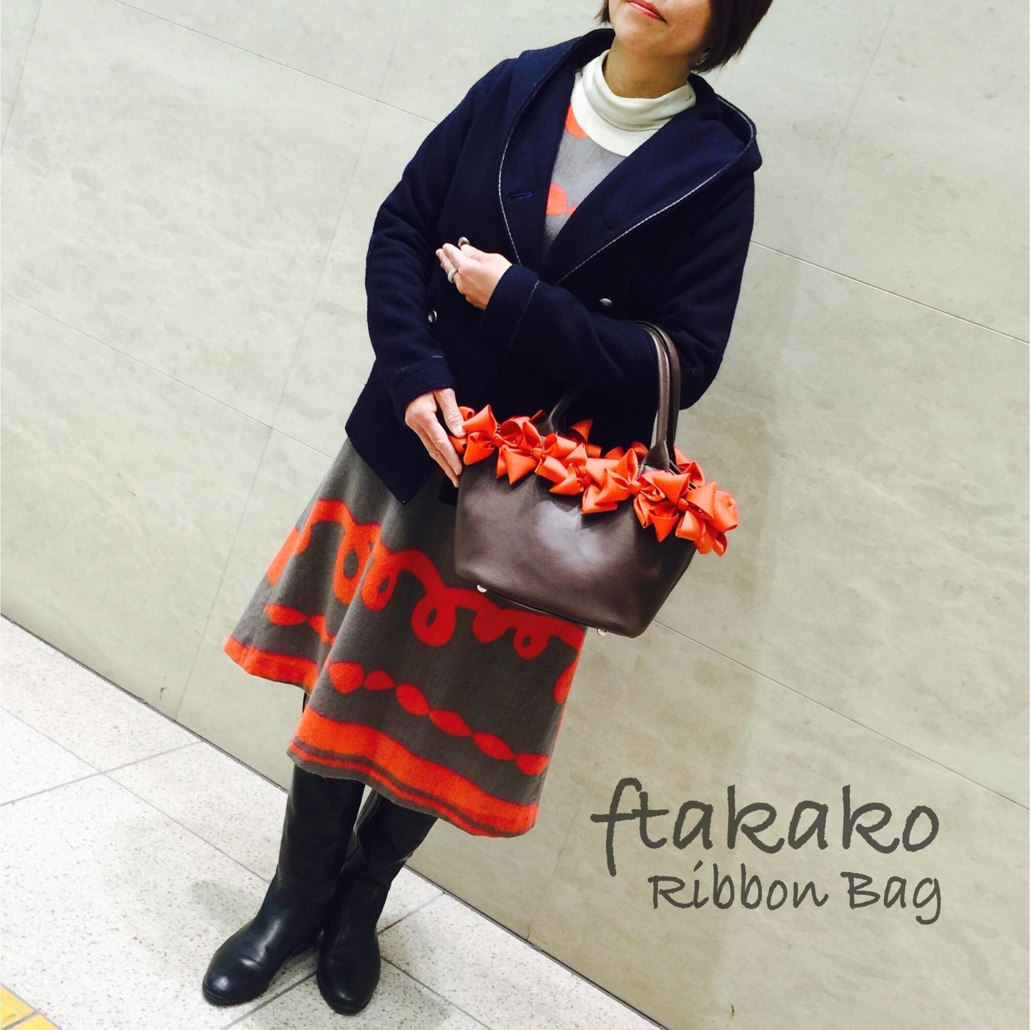 《リボンバッグ♡ブラウンxオレンジxスワロ》