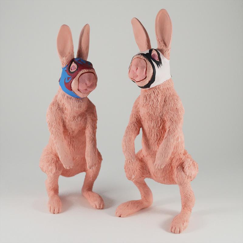 ブローチ作品『仮面ウサギ兄弟』発売しました