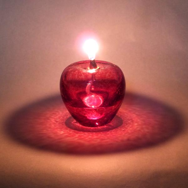 津軽びいどろのオイルランプ「赤りんごセット」