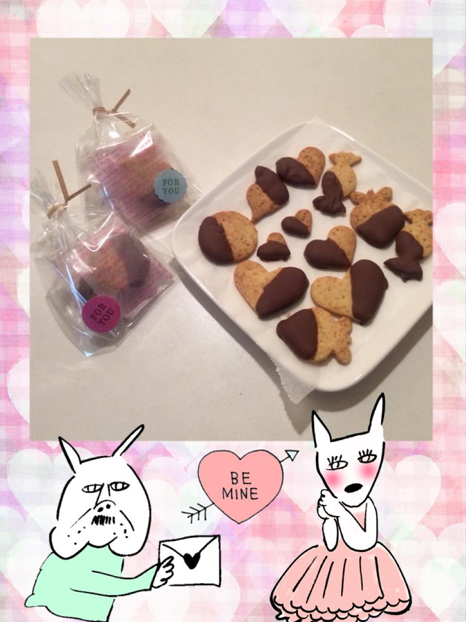 チョコレートでコーティングしたバレンタインクッキーご予約受付中!