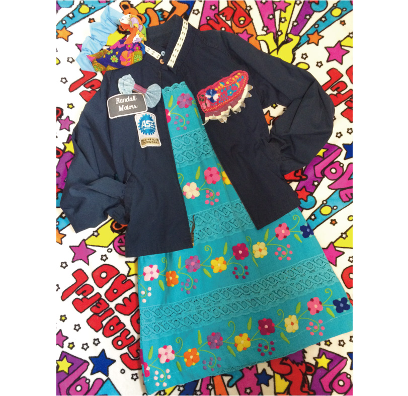 もこもこお花がキュート♥メキシカン刺繍ワンピの着こなし♪