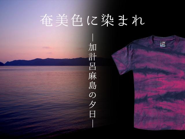 夏にぴったり!ワインレッドの夕日をモチーフにした奄美の藍染Tシャツ。