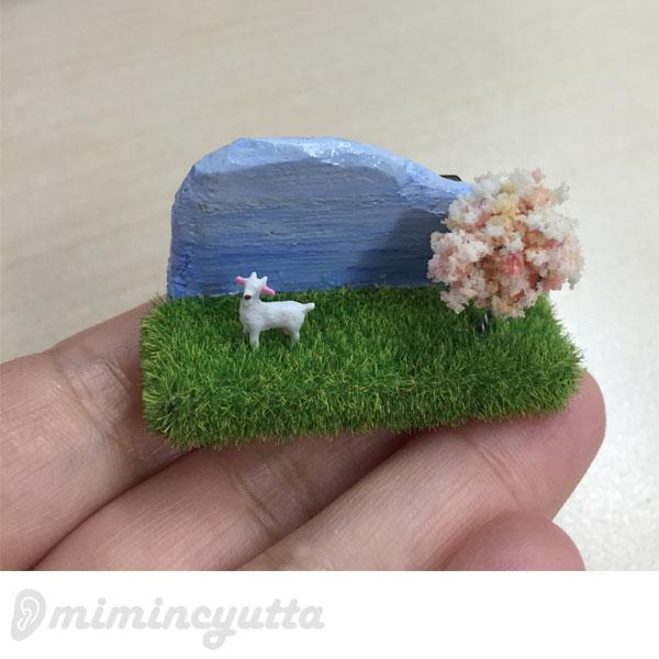 桜満開☆春の農場を胸元に~気ままに遊ぶ動物さん~桜咲く農場ブローチ~