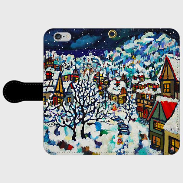 手帳型iPhone6/6sケース/雪のまち *クリスマス