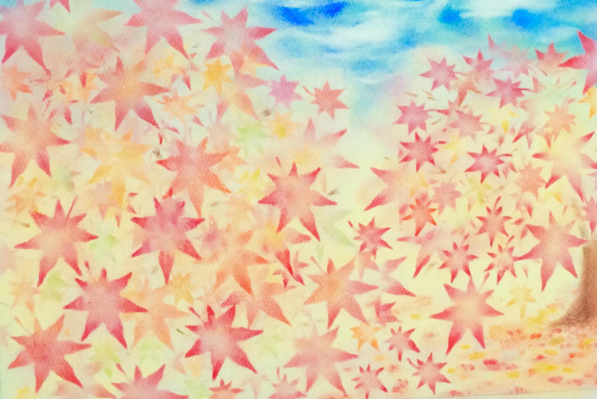 紅葉の型紙をアレンジして風景画を描いてみました。