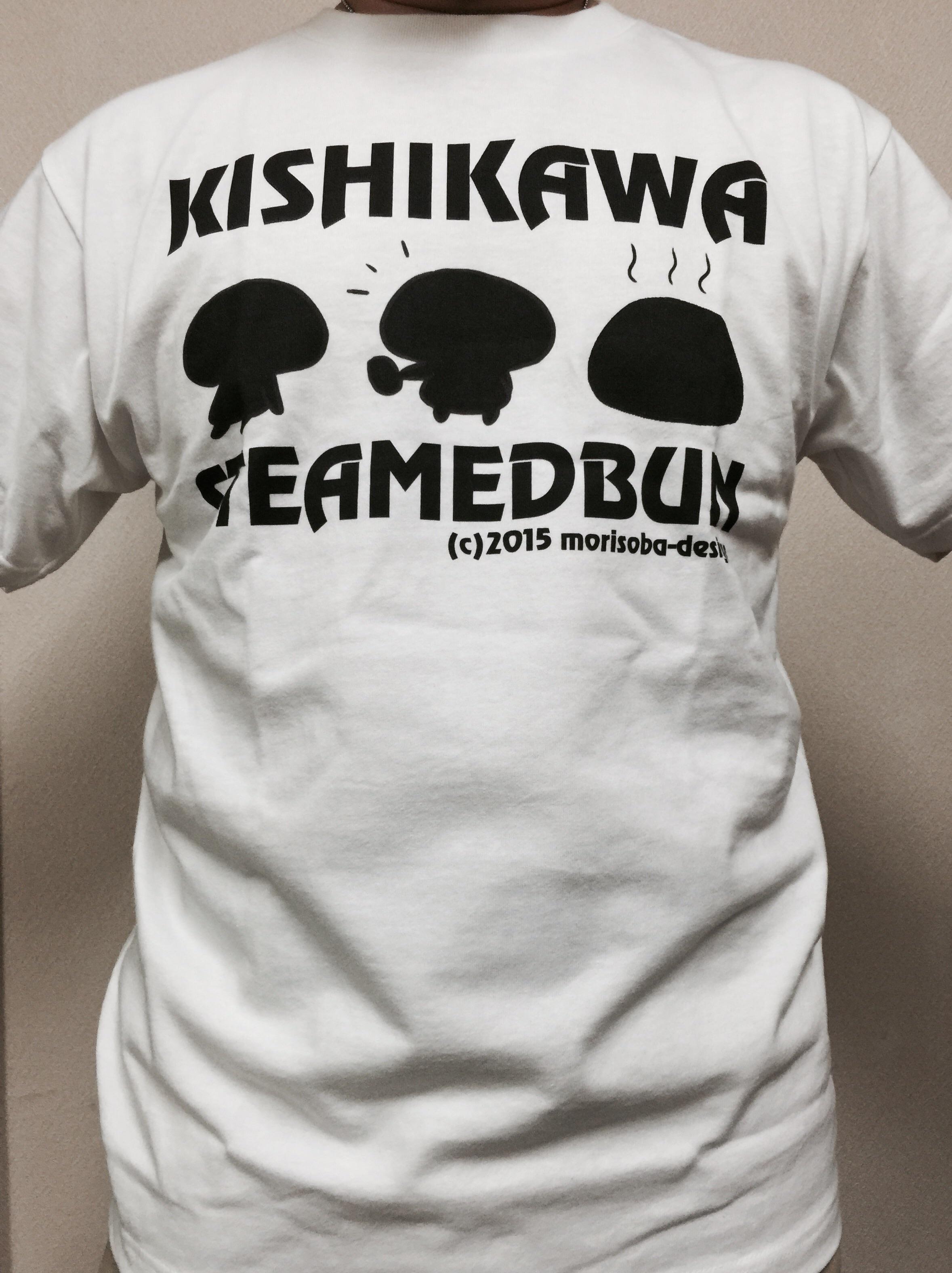 岸川まんじゅう×たくまんコラボ「KISHIKAWASTEAMEDBUN」Tシャツがコチラになります。