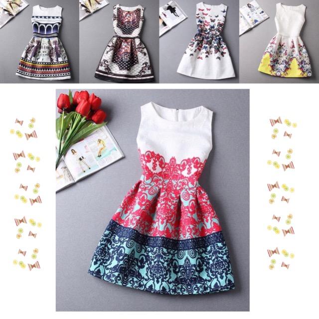 熱い販売の新しいファッション2015年スタイルのプリントドレス、女性パーティードレス袖なし