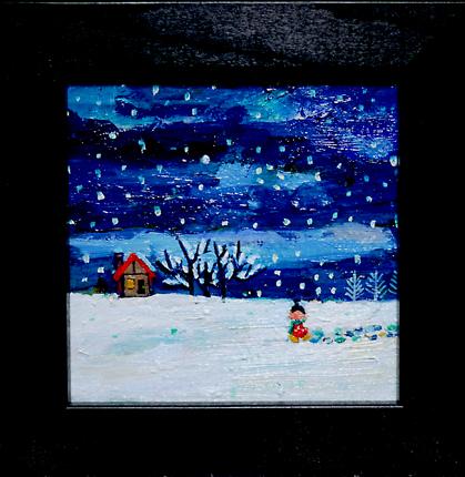 油彩画/雪の日*キャンバス 10x10cm  クリスマス