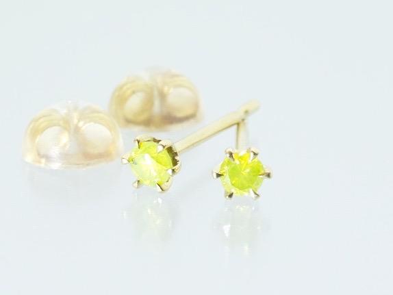 【inGod jewels】天然パロットグリーン ダイヤモンド×K18 6本爪 スタッドピアス