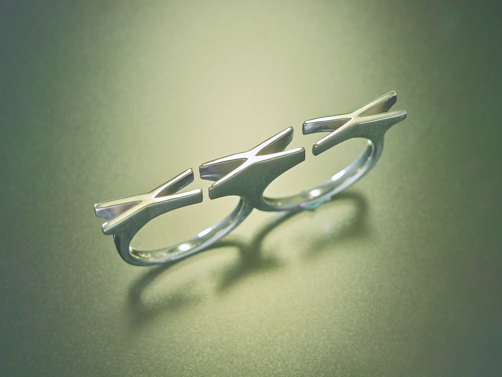 2Finger LOVE Ring『KISS KISS KISS』Silver925